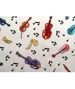 1/2 yard music/notes/multi-color instruments on white quilt fabric-free ... - $11.99