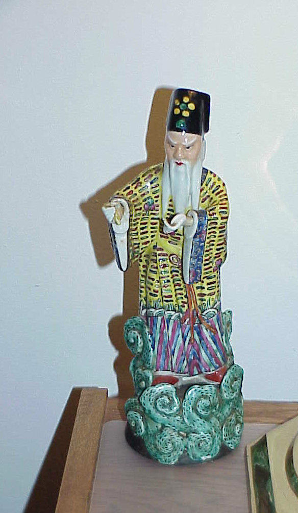 "Primary image for Antique Chinese Oriental Porcelain Ceramic Figurine Priest Flowing Robe 12"" Nods"