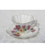 Vintage Lefton Bone China Cup and Saucer with Pink and Yellow Flowers - $7.99