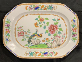 """EARLY ANTIQUE SPODE PEACOCK 14.5"""" PLATTER 2118 STONE CHINA POTTERY C1805... - $198.99"""