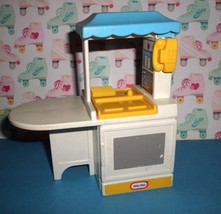 Vintage LITTLE TIKES Dollhouse Size Kitchen Island Blue and Yellow - $7.00