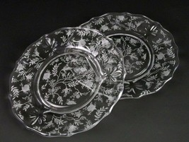 Fostoria Chintz Salad Plates 2 pc Set, Vintage Elegant Etched Baroque Sh... - $9.80