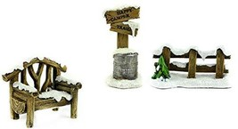 Miniature Snow Covered Fence, Bench and Sign That Reads - Happy Camper T... - $23.83