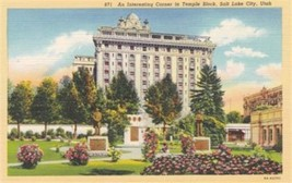 Salt Lake City Utah UT Corner in Temple Block Postcard Curt Teich Linen - $3.34