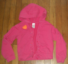 Gymboree coral pink rainbow gem terry cloth zip up hoodie jacket 8 girl - $7.92
