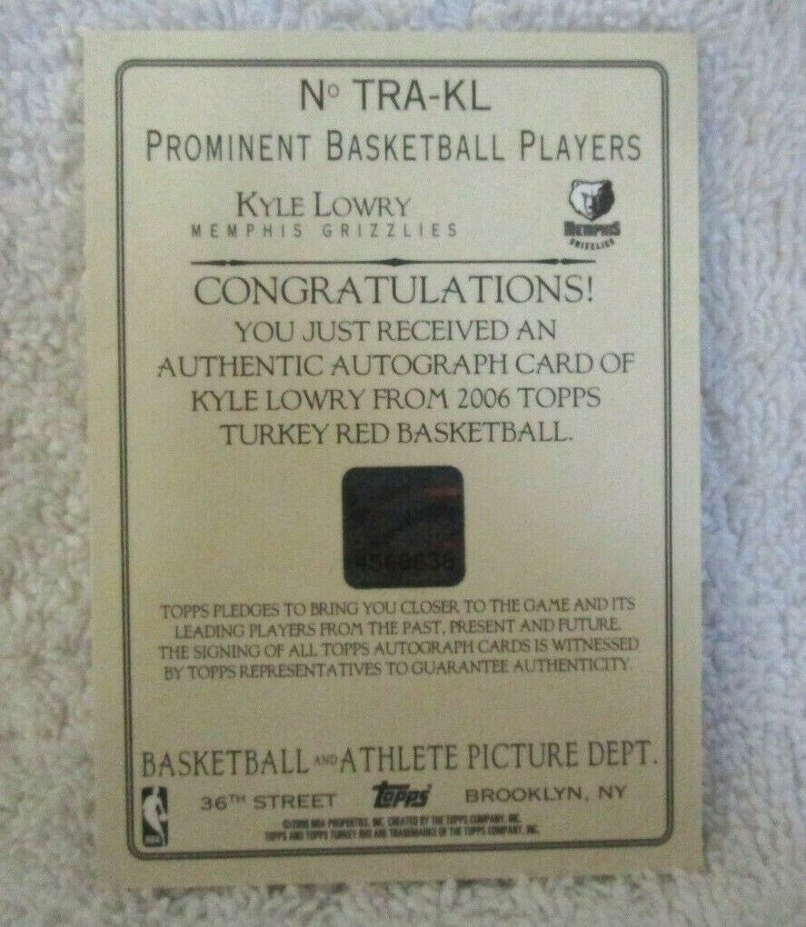 Kyle Lowry RC 2006-07 Topps Turkey Red Rookie Hologram Autograph GEM10?Raptors image 3