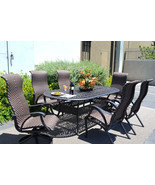 7 piece outdoor dining set cast aluminum patio furniture Venice 6 person... - £2,096.32 GBP