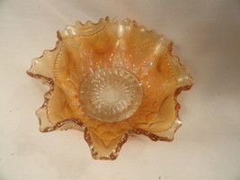 Carnival Glass Bowl Dugan Marigold Scales Fluted or Crimped 6 inches - $29.99