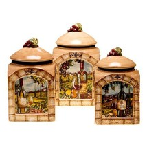 Tuscan View Lead Free 3 Piece Ceramic Canister ... - $87.11