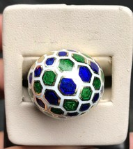 Vintage Blue Green and White Honeycomb Enamel 14K Gold Dome Ring - $1,683.00