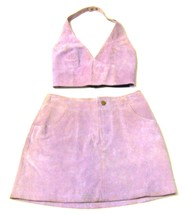 Sz 4 XS/S - Wilson's Maxima Lavendar Suede Leather Skirt & Vest Set  - $80.75