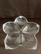 Beautiful Unique Clear Glass Flower Shaped Divided Bowl - $15.99