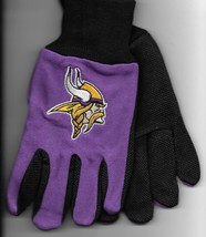 Minnesota Vikings team Sport Utility Gloves purple black garden NFL Foot... - $17.77