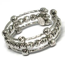 White Gold Ring 750 18K, Band, Spheres Faceted, 3 Wires, Shank Open image 4