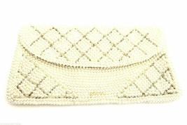 Vintage Purse Evening  Bag Champagne Beaded Pearls Clutch Japan 1950S - $21.84