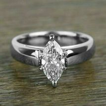 2.00Ct White Marquise Cut Solitaire Diamond 14k White Gold Over Engageme... - $76.84