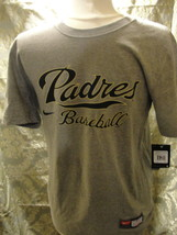 MLB San Diego Padres short sleeve gray T-shirt size medium. Made by Majestic. - $14.20