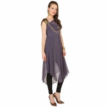 Ira Soleil 3pcs set of grey chiffon kurti with black inner and legging - $49.99