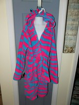 Justice Pink/Blue Zebra Stripe Robe With Ears Size 12/14 Girl's EUC - $24.92