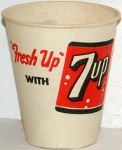 Vintage paper cups 7UP You like it Fresh Up Lot of 4 different new old s... - $8.99