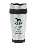 Stainless Steel Insulated 16oz Travel Mug Coffee Cup Keep Calm Love Beagles - $14.99