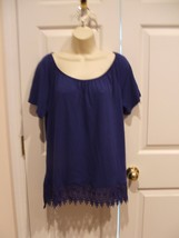 Nwt $26 St. Johns Bay Royal Blue Cotton Blend Top Size Large - $16.82