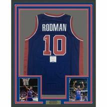 FRAMED Autographed/Signed DENNIS RODMAN 33x42 Detroit Blue Jersey Becket... - $399.99