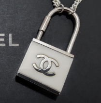 CHANEL Ivory/Silver Large Padlock Keychain - $285.00