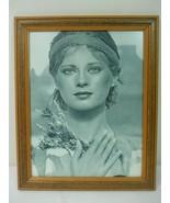 Vintage Framed Art Movie Girl Poster Photo Brown Wooden Frame Anti Glare... - $19.75