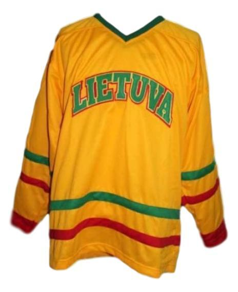 Custom name   lithuania lietuva hockey jersey yellow   1
