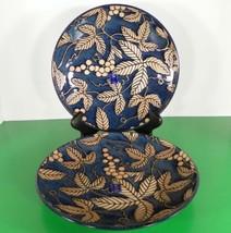 Sousaku Japan Dinner Plate (s) LOT OF 2 Blue Tan Leaves - $39.55