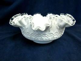 "Vintage Fenton Art Glass SPANISH LACE SILVER CREST 10"" BOWL Older Bowl U... - $34.65"