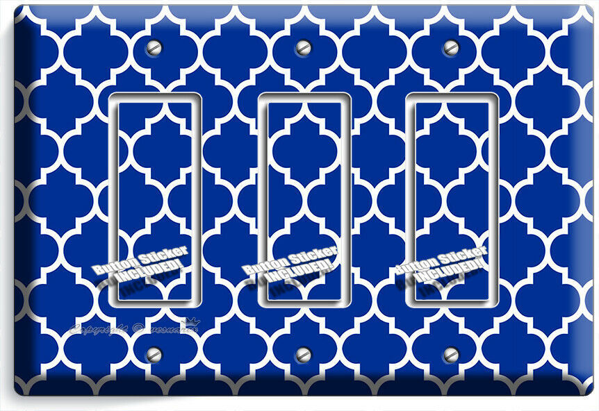 GEOMETRIC BLUE WHITE ARABIC PATTERN 3 GFCI LIGHT SWITCH WALL PLATE ROOM HD DECOR