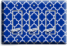 GEOMETRIC BLUE WHITE ARABIC PATTERN 3 GFCI LIGHT SWITCH WALL PLATE ROOM ... - $17.99
