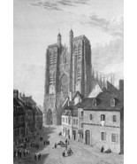 FRANCE Abbeville St. Vulfran Cathedral - 1821 Engraving Print Cpt. Batty - $19.80