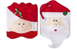 Pack of 4 Christmas Chair Covers Seat Back Mr Mrs Santa Claus Table Deco... - €12,57 EUR