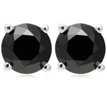 Round Cut Cubic Zirconia Faux Onyx Solid Sterling Silver Unisex Stud Earrings - $25.24+