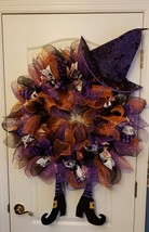 Halloween mesh ribbon wreath with Witch theme - $75.00