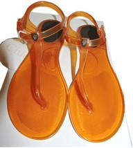Chloe Logo Jelly Flip Flop Rubber Thong Sandals Flat Orange Jelly 8.5 - 39 - $52.00