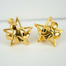 Napier Mickey Mouse in a Star Gold Tone Clip On Earrings Disney Mickey Co  - $29.02