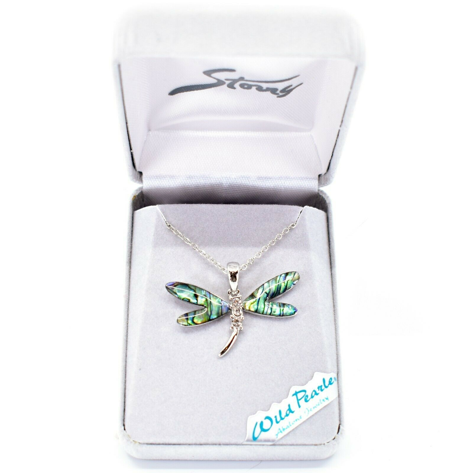 Storrs Wild Pearle Abalone Shell Crystal Dragonfly Pendant Silver Tone Necklace