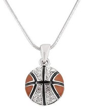 Silvertone with Black & Orange Iced Out Basketball Pendant Snake Franco ... - $8.78