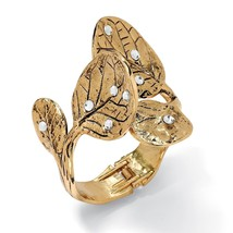 PalmBeach Jewelry Crystal 14k Yellow Gold-Plated Leaf Bangle Bracelet - $14.49