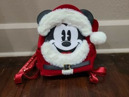 Disney Parks Santa Mickey Mouse Loungefly Red Mini Backpack  - $72.55