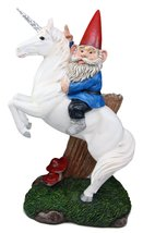 """Atlantic Collectibles Toadstool Gnome Riding Unicorn Statue 14""""Tall Whimsical Jo - $43.89"""