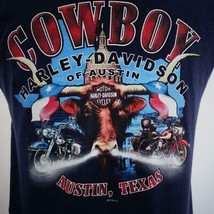 Harley Davidson Cowboy Austin TX 2006 Blue Graphic Sleeveless T Shirt Me... - $30.22