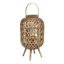 Coastal Bamboo and Wood Lantern Stand - $49.97