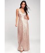 Glam Spotlight Stunner Lady Elegant Champagne Sequin Maxi Dress - L - $40.00