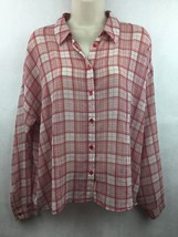 Women's Forever 21 Sheer Red Plaid Button Up Dress Shirt Size Medium - $14.84