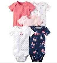 Carter's Baby Girl 5-pk. Graphic Stripe Short Sleeve Bodysuits New Born ... - $17.99